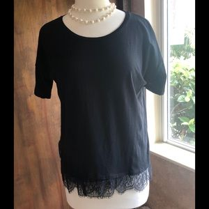NWOT J.Crew black top with lace hem, short sleeves